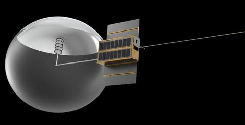 Illustration of a CubeSat with an antenna