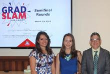 Photo: Khosravi, at left, with fellow finalists Joan Bajorek and Lora Key.