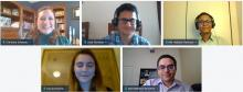 Screenshot of a Zoom meeting with five smiling people.