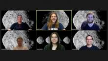 Screenshot of students on an online video call, each with the asteroid Bennu set as a background.
