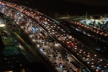 Traffic jam on a raised highway
