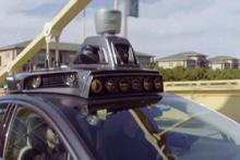 Technology on top of a self-driving car; image courtesy of KVOA