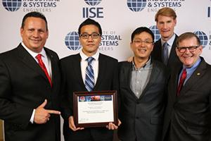 IISE President Michael Foss, Seunghan Lee, Young-Jun Son, IISE President-Elect Joseph Hartman and IISE Immediate Past President James C. Moore at the 2016 IISE Annual Conference awards banquet