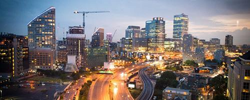 A busy highway running through a city; Image courtesy of the UA Office for Research & Discovery