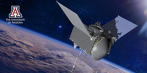 Concept art of OSIRIS-REx in space with the Earth in the background and a UA logo in the top left corner