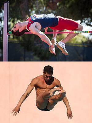 Top: Alumnus Edgar Rivera competing in the high jump; bottom: Rafael Quintero diving. Images courtesy of Arizona Athletics.