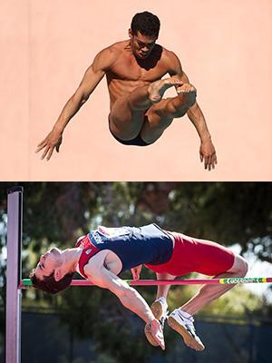Top: Senior Rafael Quintero diving; bottom: alumnus Edgar Rivera competing in the high jump. Images courtesy of Arizona Athletics.