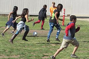 Students in Escondido, California, combine soccer with science. Photo by Steve Puterski. Image courtesy of Steve Puterski/The Coast News Group.